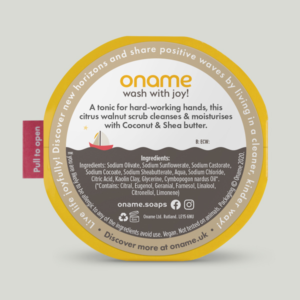 Oname Citronella & Walnut soap back view on grey background