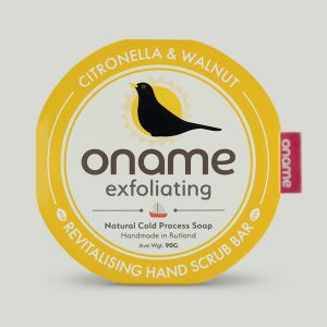 Oname Citronella & Walnut soap on grey background