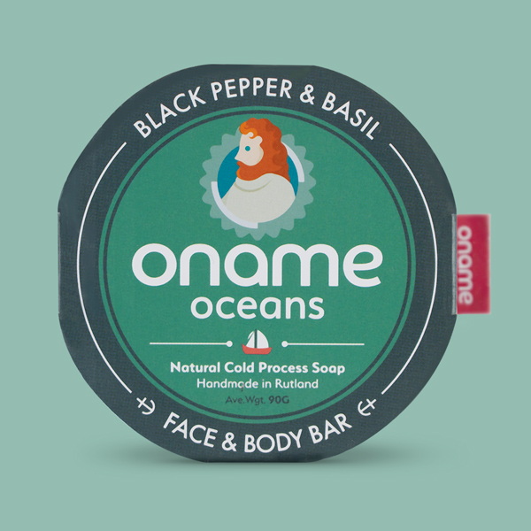 Oname Black Pepper & Basil soap on a green background