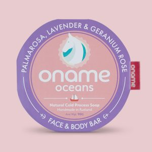 Oname Palmarosa, Lavender & Geranium Rose soap on a pink background